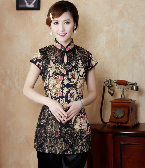 Mode or chinois femmes vêtements Polyester satin Blouses chemise hauts taille M L XL XXL XXXL livraison gratuite TD21