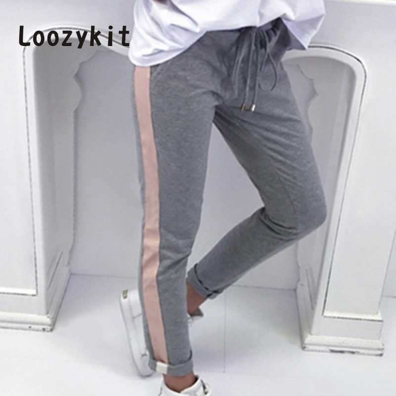 LOOZYKIT Drawstring Waist Side Striped Trim  Sweatpants Women Casual Exercise Long Pants Female Plus Size Pencil Pants