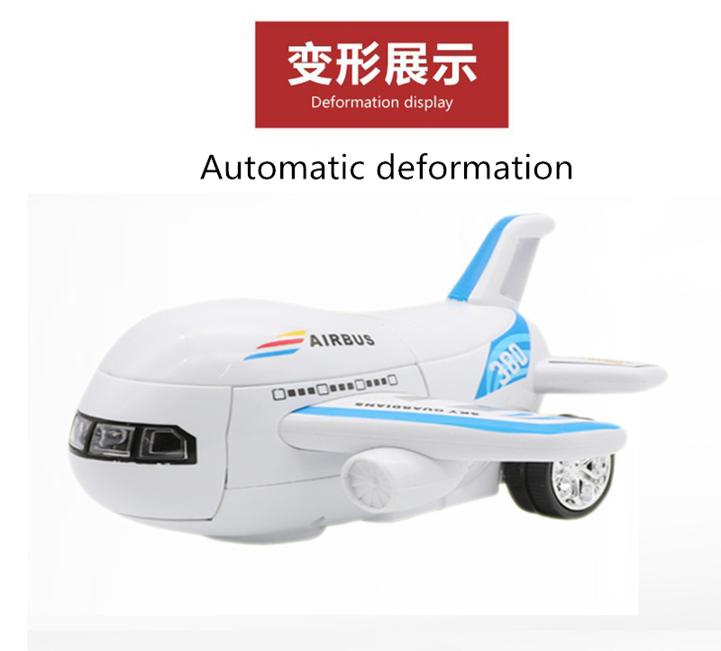 Electric Aircraft Deformation robot With colorful lights music automatic deformation Airplane Toy Plane Model Toy birthday Gifts