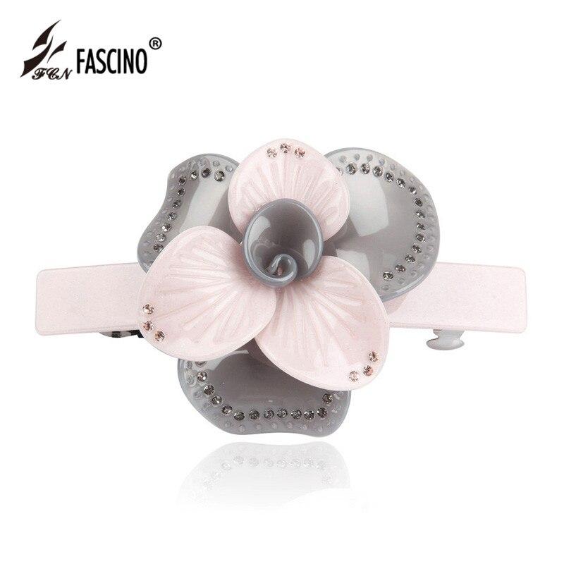 Luxury Crystal Flower Rhinestone Acetate Hair Clip Barrette Hairpin Headwear Accessories Jewelry For Woman Girls Gifts BG810075
