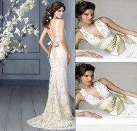 Vestido De Noiva New Design Sexy Lace Small Train Detachable V Neck Backless Bridal Gown whit Wedding Dress 2019 inventory spot