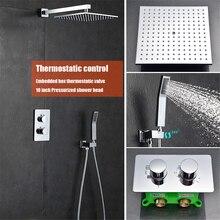 Baño termostático ducha de lluvia conjunto grifo sistema de 10 pulgadas de lluvia cabeza de ducha doble maneras pared montada baño grifo conjunto