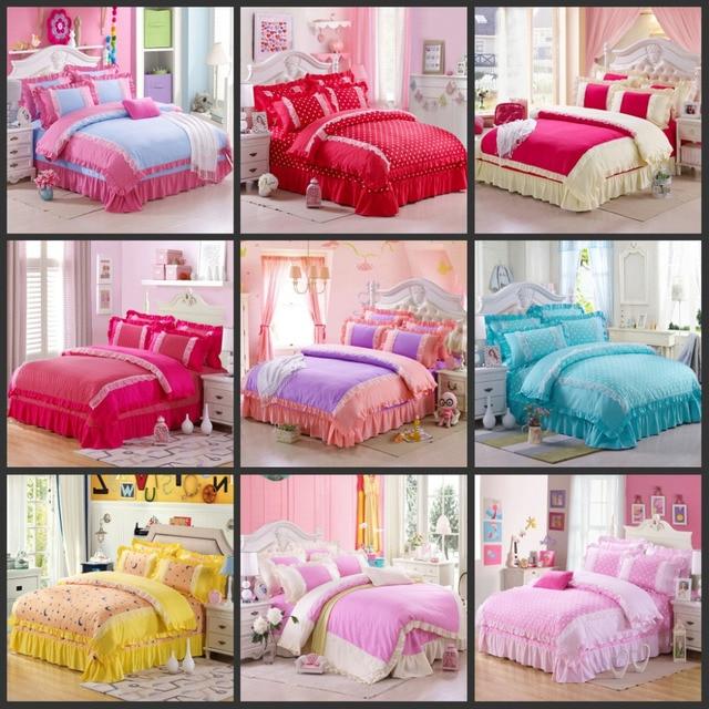 Princess Duvet Cover Polka Dot Bed Sheets Girls Comforter Sets Pink  Comforters And Quilts Funda Nordica