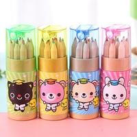 12 farben/box Nette HB mini kleine bär farbe bleistifte kinder kinder kunst malerei werkzeug schule liefert schreibwaren