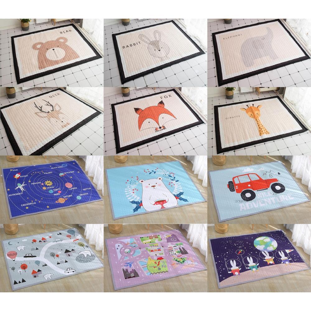 Mignon animaux renard girafe cerf éléphant bébé antidérapant jouer tapis ramper tapis tapis tapis enfants chambre décor tapis nordique Style jouets