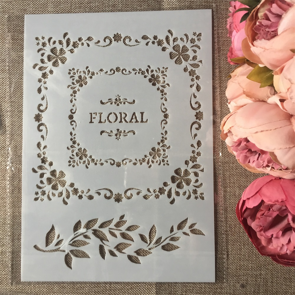 1Pcs A4 Floral Square DIY Layering Stencils Wall Painting Scrapbook Coloring Embossing Album Decorative Paper Card Template
