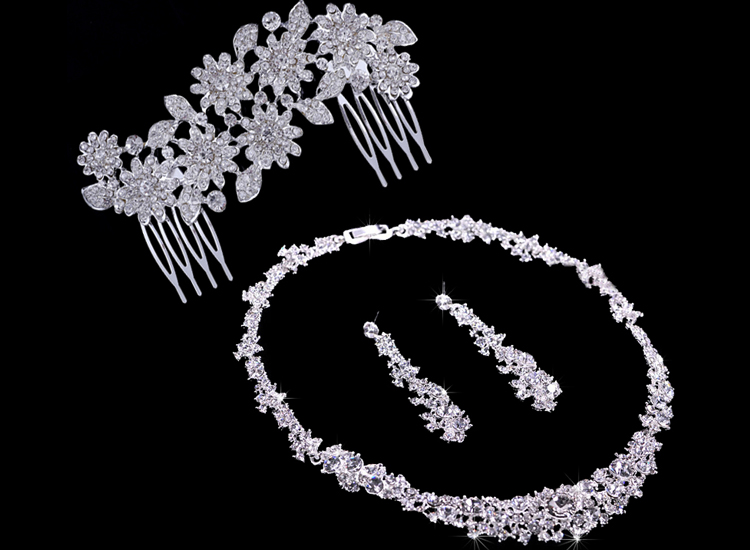 Silver Crystal Wedding Bridal Bridesmaid Jewelry Sets Alloy Necklace Earrings Crown Jewelrys For Women Hot Sale (6)