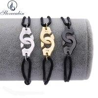 Slovecabin France Popular Jewelry 100 925 Sterling Silver Handcuff Bracelet For Women Adjustable Black Rope Bracelet