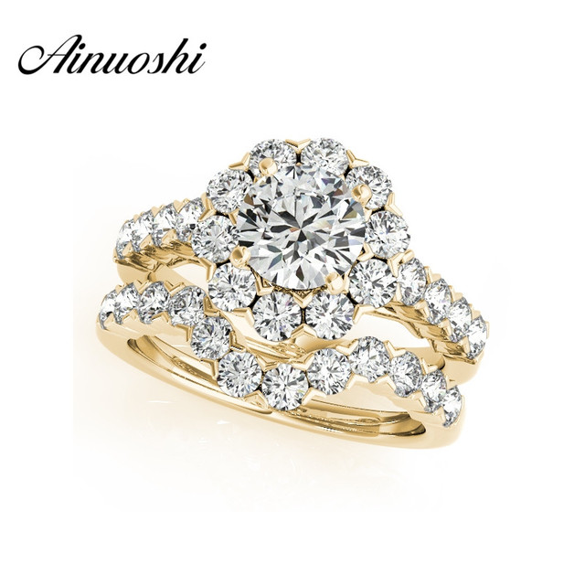 AINUOSHI 925 Sterling Silver Women Yellow Gold Color 1 Carat Round Cut Anniversary Halo Bridal Ring Set Jewelry anillos de plata