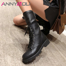 ANNYMOLI Winter Ankle Boots Women Natural Genuine Leather Thick Heels Short Boots Zipper Round Toe Shoes Lady Autumn Size 34-39 zvq genuine leather lady plush green ankle boots pointed toe thick 3cm heels 2018 popular elegant concise large size women shoes