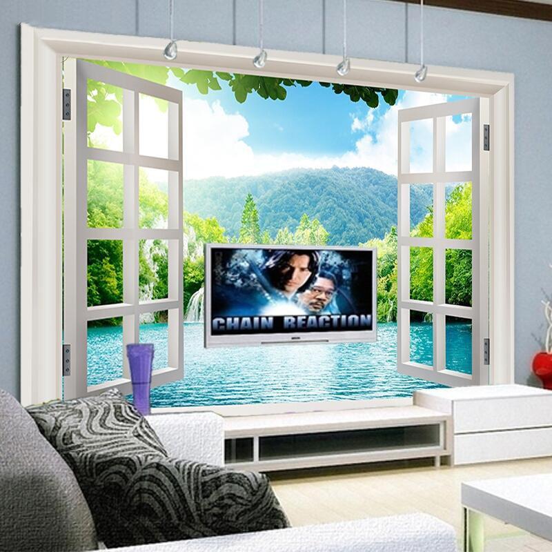 Beibehang Custom 3D Mural Wallpaper Window 3D Forest View