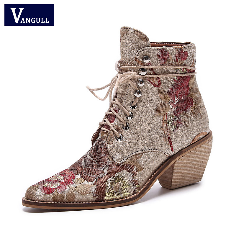 279635577 Women's Shoes oriental embroidery lace up boots thick high heels European pointed  toe women fashion wedding