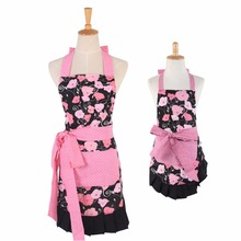 Mother & Daughter Parental Apron Cotton Printing Cute Aprons With Pocket Housework BBQ DIY Painting Flower Pinafore Apron Black