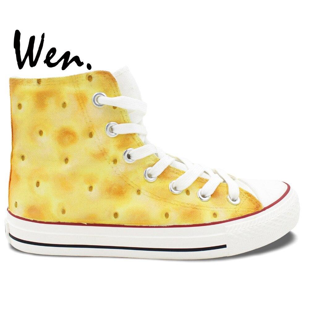 ФОТО Wen Original Light Yellow Hand Painted Shoes Design Custom Biscuit Women Men's High Top Canvas Sneakers