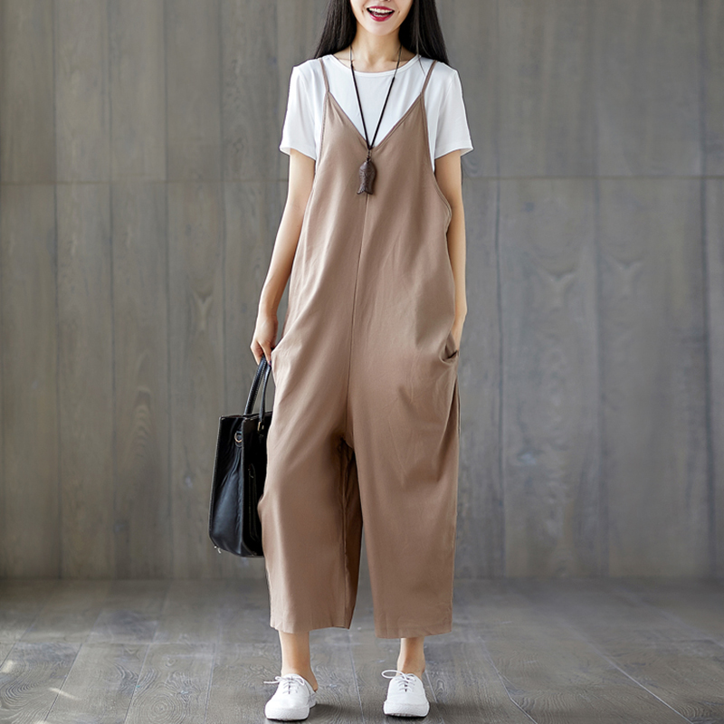 Womens Casual Loose Cotton And Linen Jumpsuit Band Bodysuit Overalls Loose Preppy Style Harem Pants Rompers Womens Jumpsuit