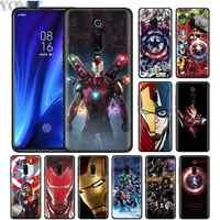 Marvel Avengers Iron Man Capitan America Nero per Il Caso di Xiaomi Redmi K20 Nota Pro 7 8T 6 Pro Redmi 6 7 6A 7A 5 Più 8A K30 Caso