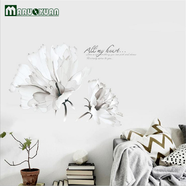 Maruoxuan new removable white flowers wall stickers living room maruoxuan new removable white flowers wall stickers living room bedroom home decoration pvc mural art wall mightylinksfo