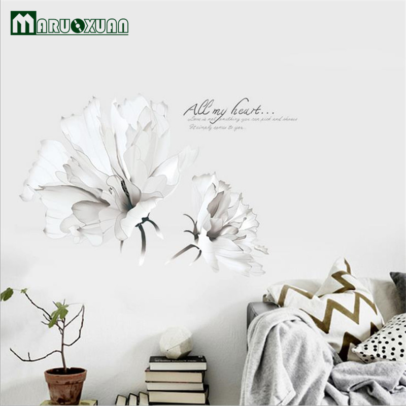 Maruoxuan New Removable White Flowers Wall Stickers Living Room Bedroom Home Decoration Pvc Mural Art Wall Decals