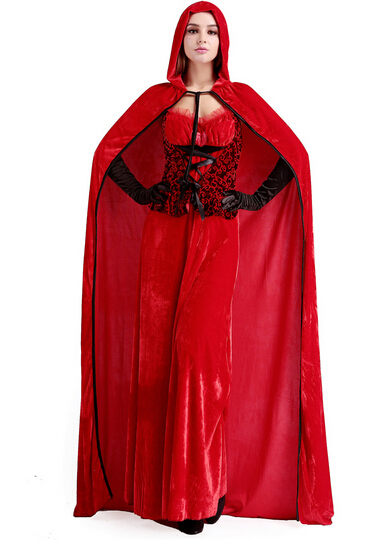 Little Red Riding Hood cosplay role-playing carnival sexy suit party costume  dress+cloak+gloves set halloween fashion women DS