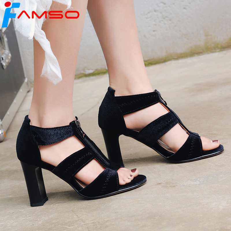 FAMSO Size34-43 2018 New Shoes Women Sandals Blue High Heels Cross-Strap Wedding Shoes Summer Female Classics Party Sandals Shoe plus size 34 43 new 2017 summer women sandals fashion thick high heels party shoes t strap rome style ladies beach shoes
