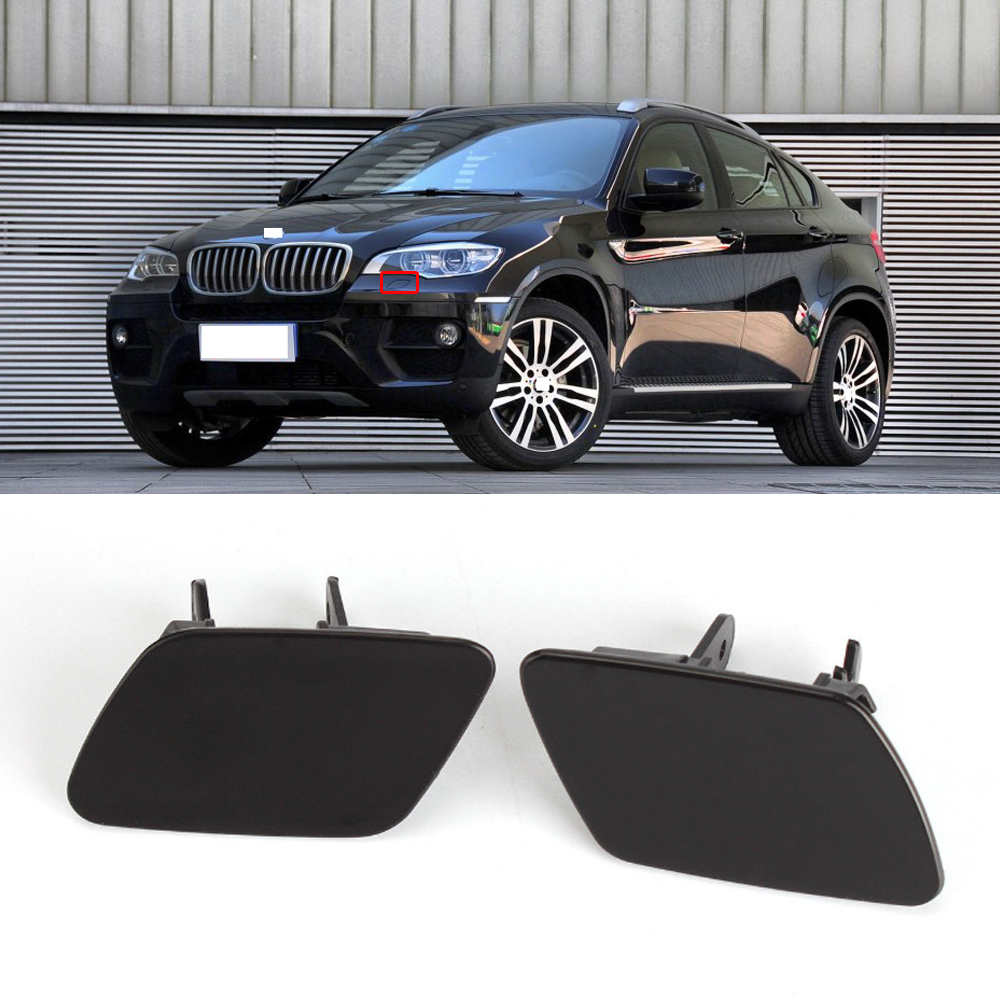 2Pcs RIGHT LEFT Headlight Washer Nozzle Cover Cap Unpainted for BMW X5 E70 07-11