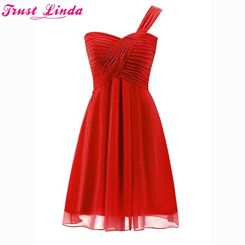 Sexy Sweetheart Women's Short Chiffon   Bridesmaid     Dresses   2018 One Shoulder Short Prom Gowns Pleats Party   Dress   Custom Made