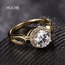 HUCHE Luxury Gold Color Ring For Women Wife Lady White Clear Crystal Zirconia Rings For Wedding Engagement Party Jewelry HYJR330