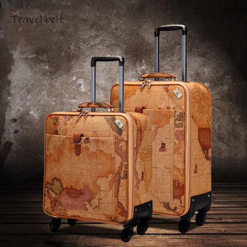 100% Retro Map PU Leather Rolling Luggage Spinner Men Business Suitcase Wheels 16 Inch Women Cabin Password Travel Bags Trelloy