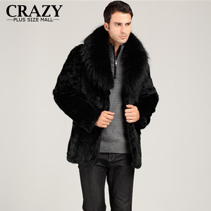 New 2019 Plus Size Men Faux Winter Thickening Mink Fur Outerwear Coat Male With Fox Fur Collar Overcoat