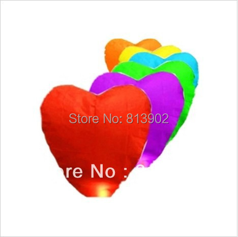 30pcs/lot Different colour Kongming Paper lantern Wishing lantern Heart-shaped Lanterns Chinese Sky Lanterns  Free shipping