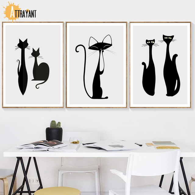 Cartoon Black White Cat Wall Art Canvas Painting Nordic Posters And Prints Animal Wall Pictures For Living Room Bedroom Decor
