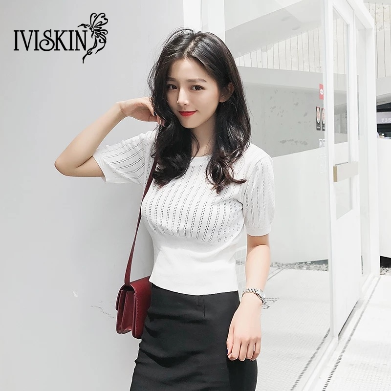 Summer T Shirt Women 2019 Knitted Short Sleeves Tee Shirt High Elasticity Breathable Top Female Hollow Out Tshirt