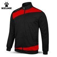 Kelme K15Z314 Men Full Zip Knitted Long Sleeve Stand Collar Football Training Jacket Black Red
