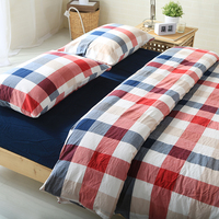 Brief Plaid Bedding Set Multi Colors 100 Washed Cotton Duvet Cover Sheet Pillowcase 4PCS Of Set