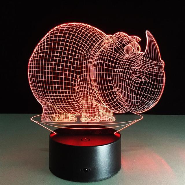 Criativo Pequena Lâmpada De Mesa LEVOU 3D Rinoceronte Animal Estatueta Brinquedos Bebê Gradiente Luz Da Noite LEVOU Iluminação Luminaria Decoração Do Quarto
