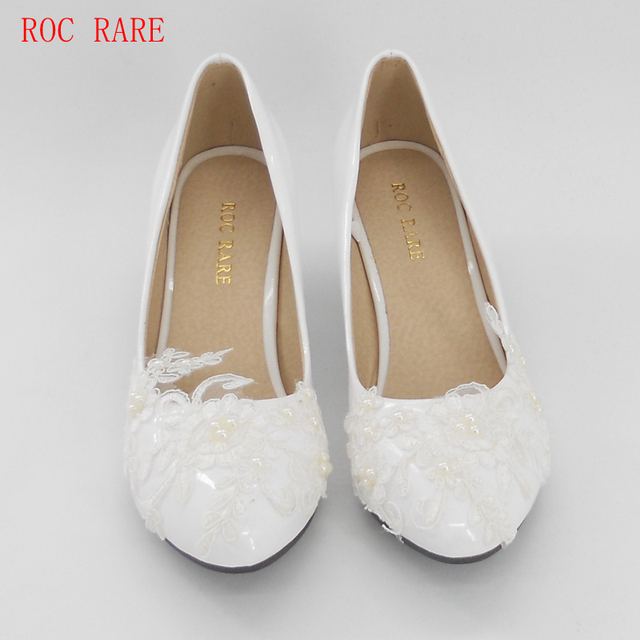 ce81fdb1b42c ROC RARE Big Size 34-43 White Lace Pearls Women Wedding Shoes Custom Heels Lace  Shoes Women Party Shoes Slip on