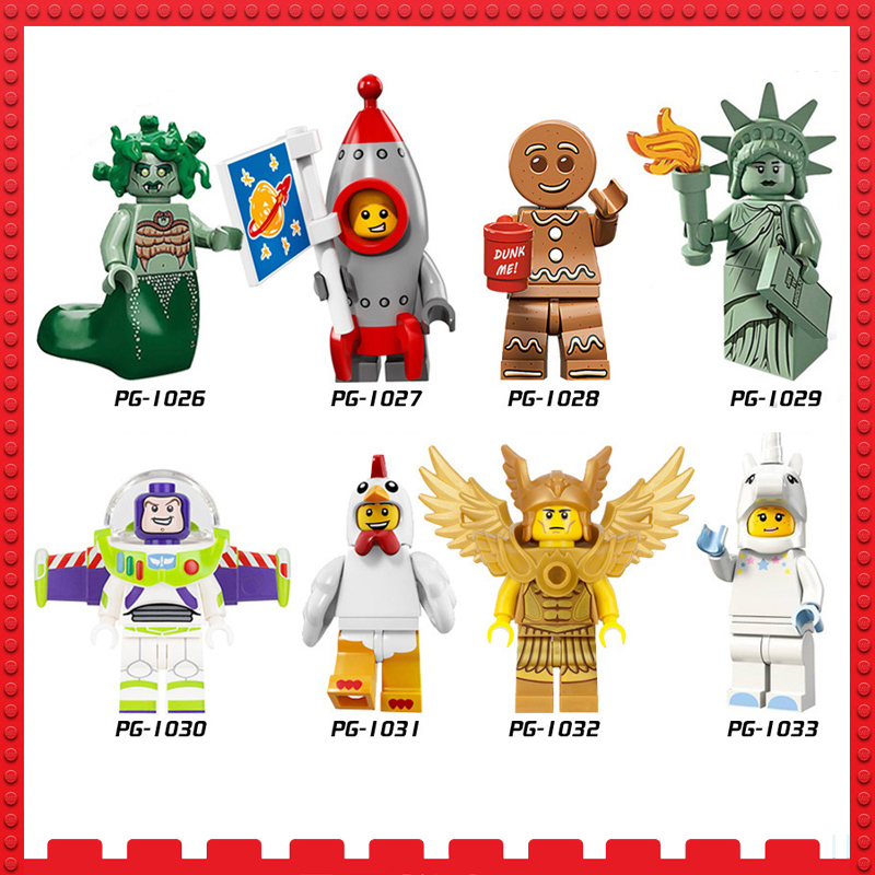 single sale Building Blocks Buzz Lightyear Compatible legoINGly mini Bricks Figures Children Toys unicorn Lady Liberty Medusa
