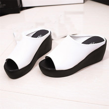 Women Summer Fashion Leisure shoes women platform wedges Fish Mouth Sandals Thick Bottom Slippers