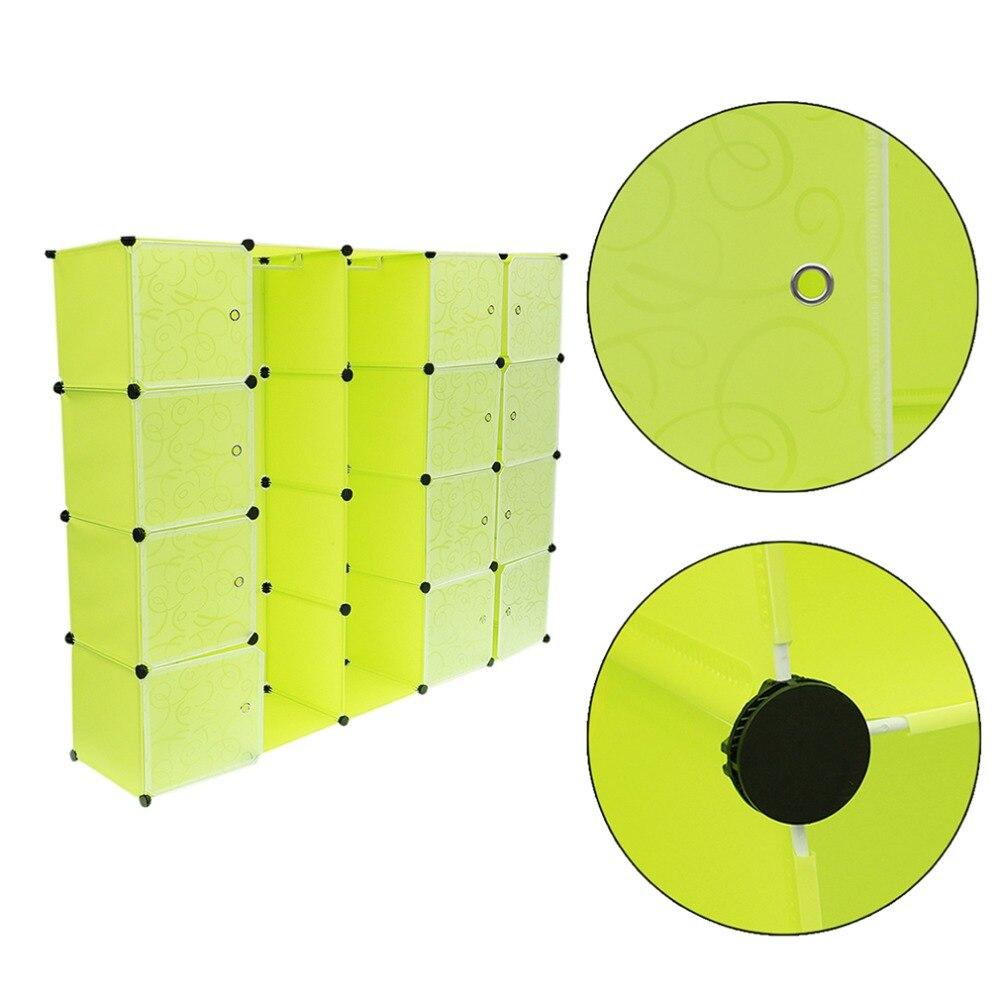 12 rejillas + 2 filas armarios Simple caja de almacenamiento de resina gabinete DIY montado Extra grande mágico niño organizador de armario guardarropa - 6