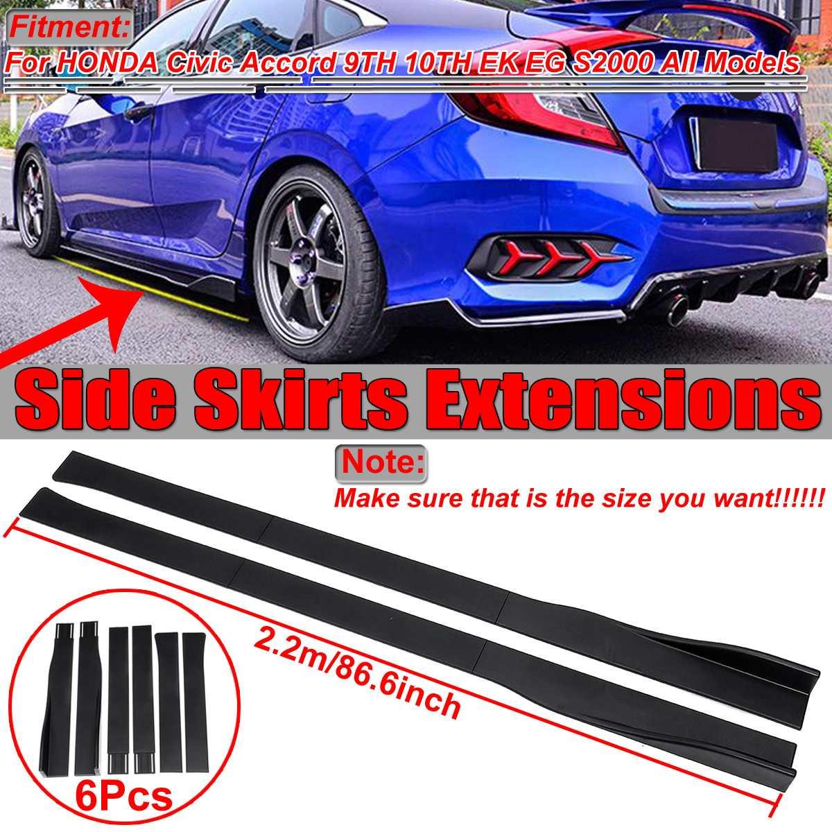 Extensions de jupe latérale de voiture universelle 2.2m pour HONDA pour Civic pour Accord 9th 10th EK EG S2000 séparateurs de pare-chocs