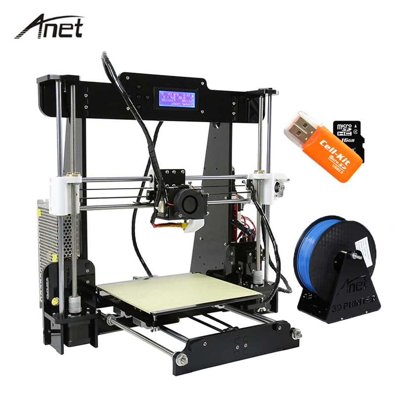 Anet Desktop A8 Auto Leveling Impresora 3D Printer DIY Kit 3D Printers Aluminum Motor 0.4mm Nozzle With 10m Filament SD Card ship from european warehouse flsun3d 3d printer auto leveling i3 3d printer kit heated bed two rolls filament sd card gift