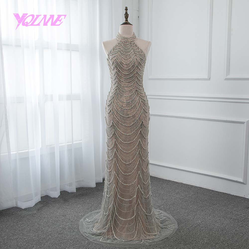 YQLNNE 2019 Gray Evening Dress Long Lace Halter Rhinestones Prom Gown Robe De Soiree Pageant Dresses