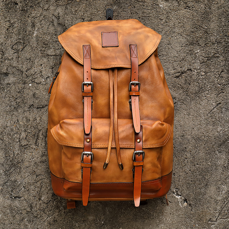 Vintage Mens Backpacks Leather Backpacks Travel Backpacks Strong Capacity