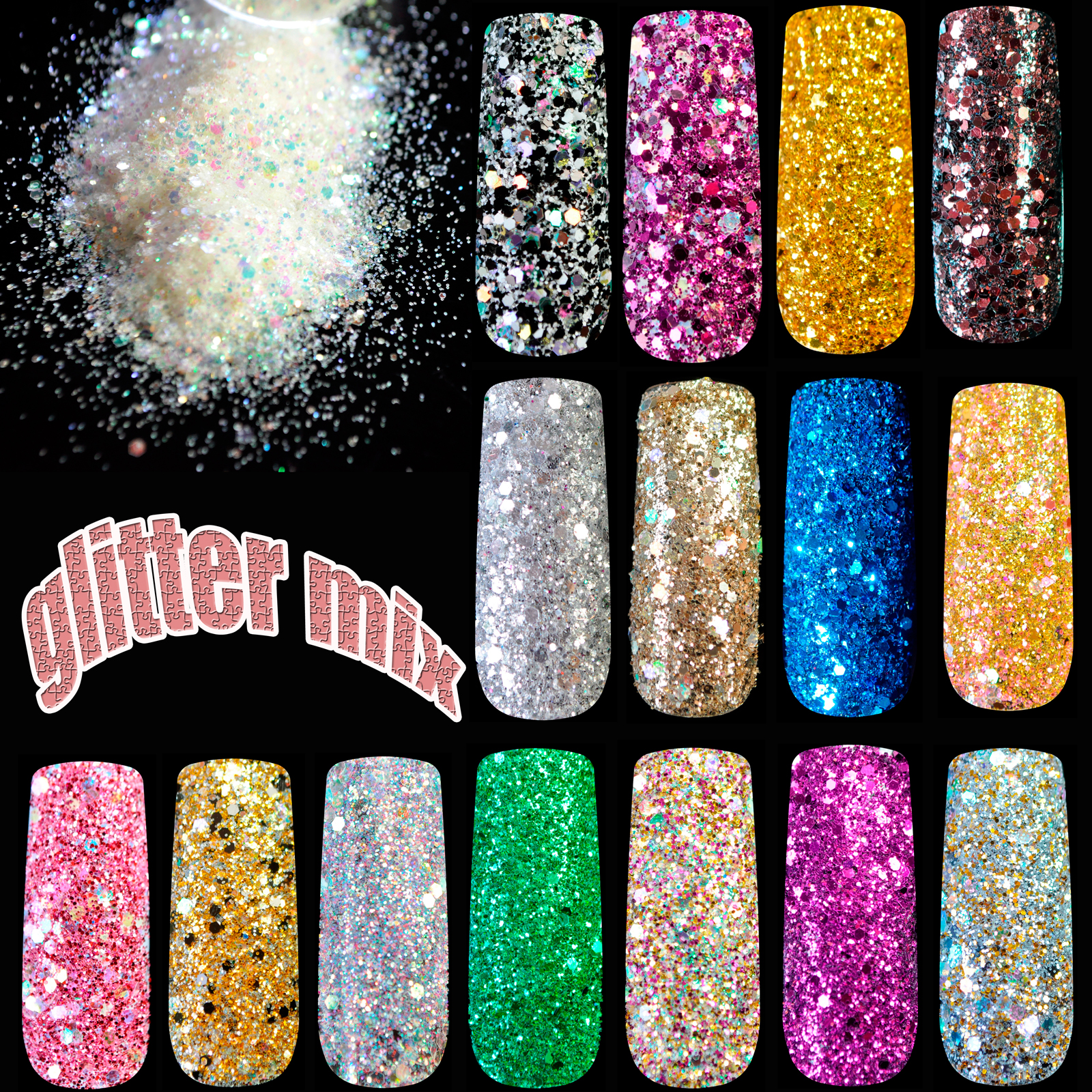 Blanda Nail Art Glitter Pulver Färgsekvenser Makeup Nail Super - Nagel konst