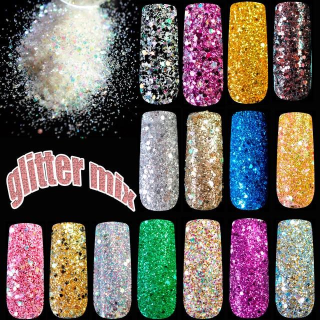 Mix Nail Art Glitter Powder Color Sequins Makeup Nail Super Shining ...