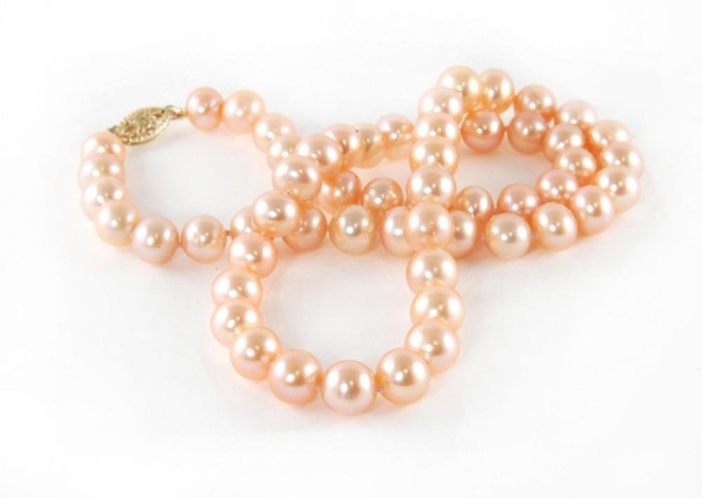10-11mm south sea round gold pink pearl necklace 18inch 14k/2010-11mm south sea round gold pink pearl necklace 18inch 14k/20