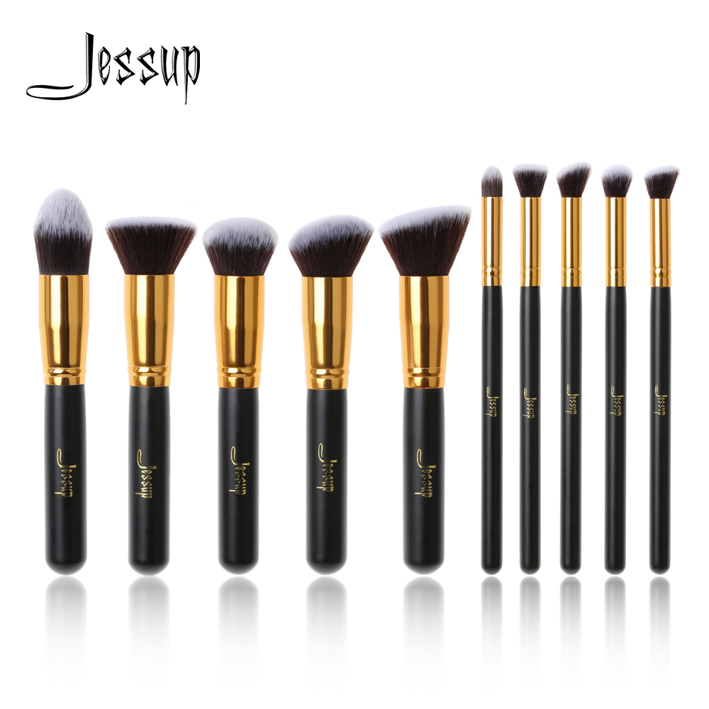 Jessup Brand 10pcs Black/Gold Makeup Brushes brushes Beauty Foundation Kabuki Cosmetics sets Makeup brush set blush Kit Tools недорго, оригинальная цена