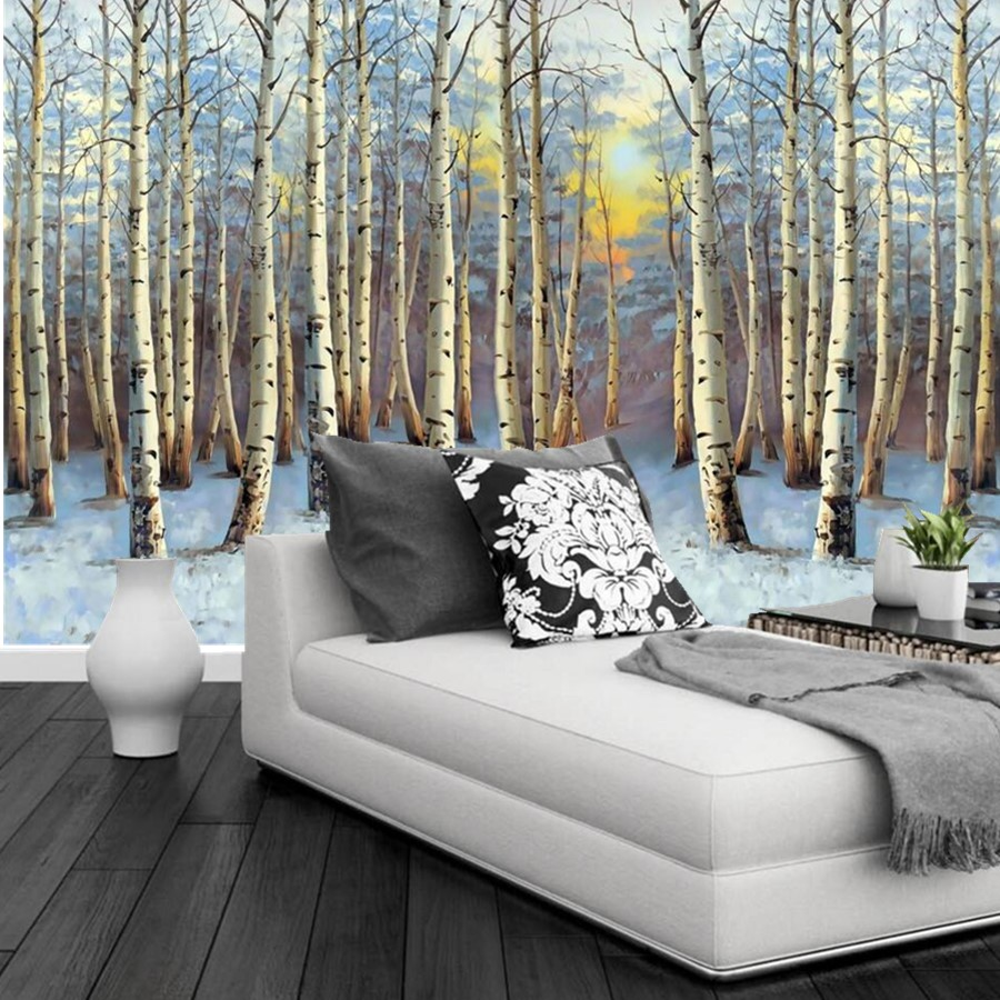 custom 3d murals landscape painting poplar forest sunset wall paper mural 3d living room tv wall. Black Bedroom Furniture Sets. Home Design Ideas