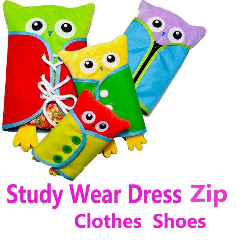 4pcs/set Baby Montessori Dressing Frames Wear Clothes Study Animals Educational Toys Preschool Soft Plush Toy Kid Early Learning