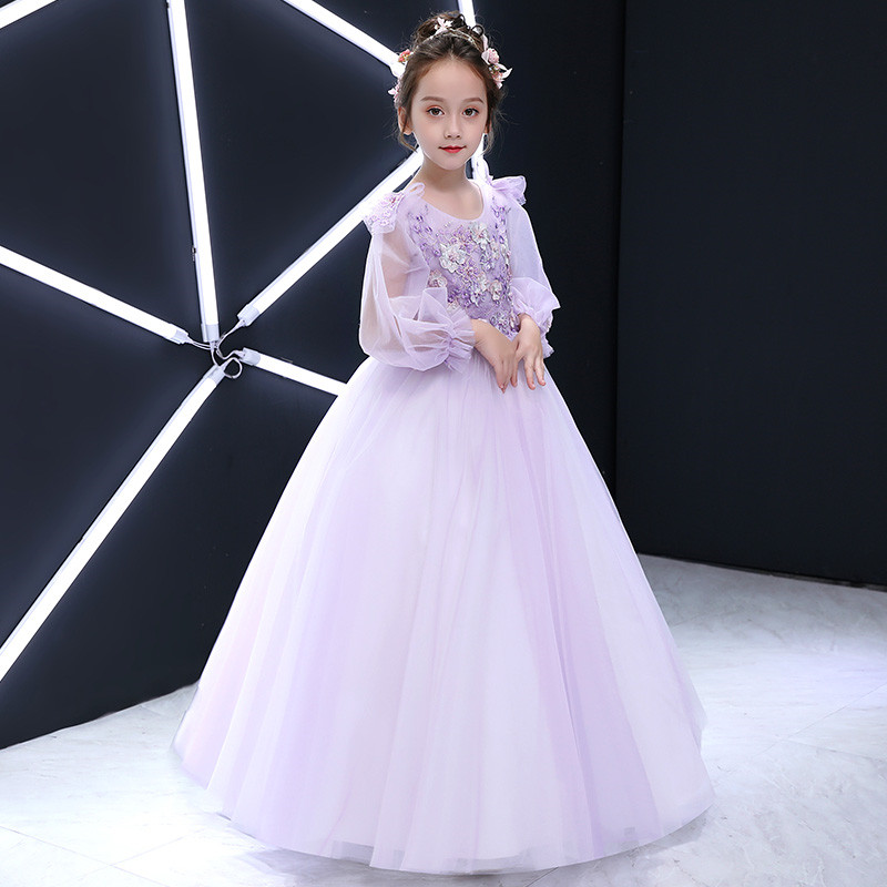 2018 Autumn New Elegant Children Girls Purple Color Birthday Wedding Party Princess Lace Flowers Long Dress Baby Kids Mesh Dress 2018 new children girls elegant pure white color birthday wedding party princess lace flowers dress baby kids model show dress